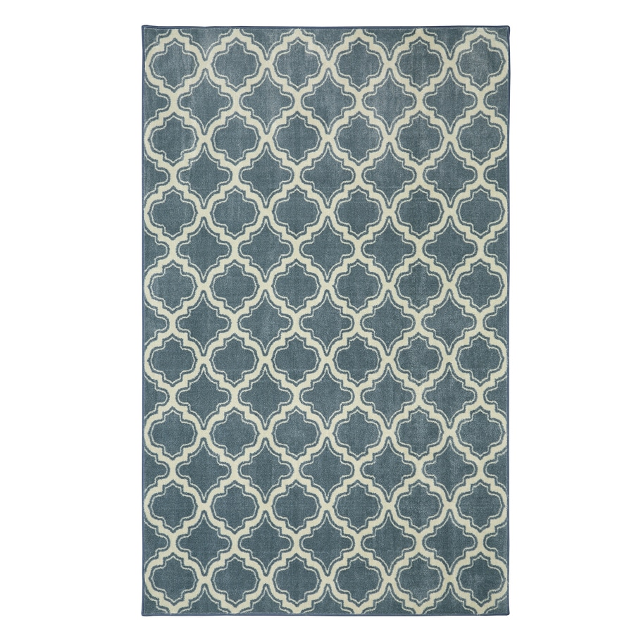 Mohawk Home Calabasas Uno Light Blue Blue Rectangular Indoor Tufted Area Rug (Common: 5 x 8; Actual: 8-ft W x 8-ft L)
