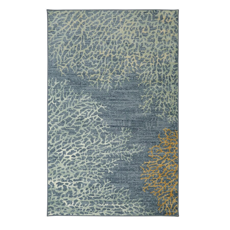 Mohawk Home Coral Reef Blue Rectangular Indoor Machine-Made Inspirational Area Rug (Common: 5 x 8; Actual: 5-ft W x 8-ft L x 0.5-ft dia)