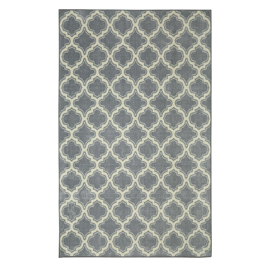 Mohawk Home Calabasas Uno Pewter Gray Rectangular Indoor Machine-Made Inspirational Area Rug (Common: 5 x 8; Actual: 8-ft W x 8-ft L x 0.5-ft dia)