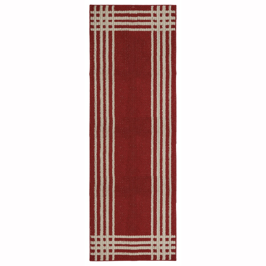 Mohawk Home Fenced Dark Cherry Apple Butter Rectangular Indoor Tufted Runner (Common: 2 x 5; Actual: 1.75-ft W x 5-ft L x 2-ft Dia)