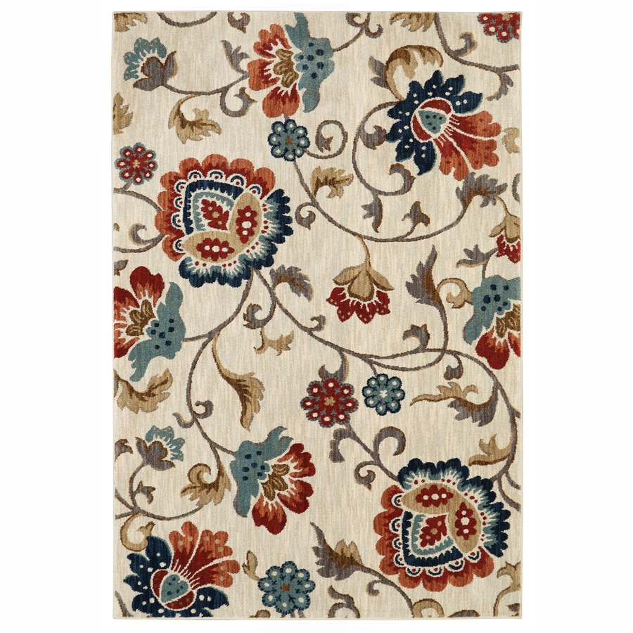allen + roth Sheltstone Cream Inspirational Area Rug (Common: 5 x 8; Actual: 5.3-ft W x 7.83-ft L x 0.5-ft dia)