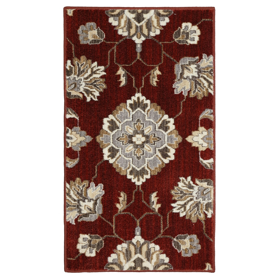 Captivating Allen + Roth Telgany Garnet Rectangular Indoor Woven Area Rug (Common: 2 X 4