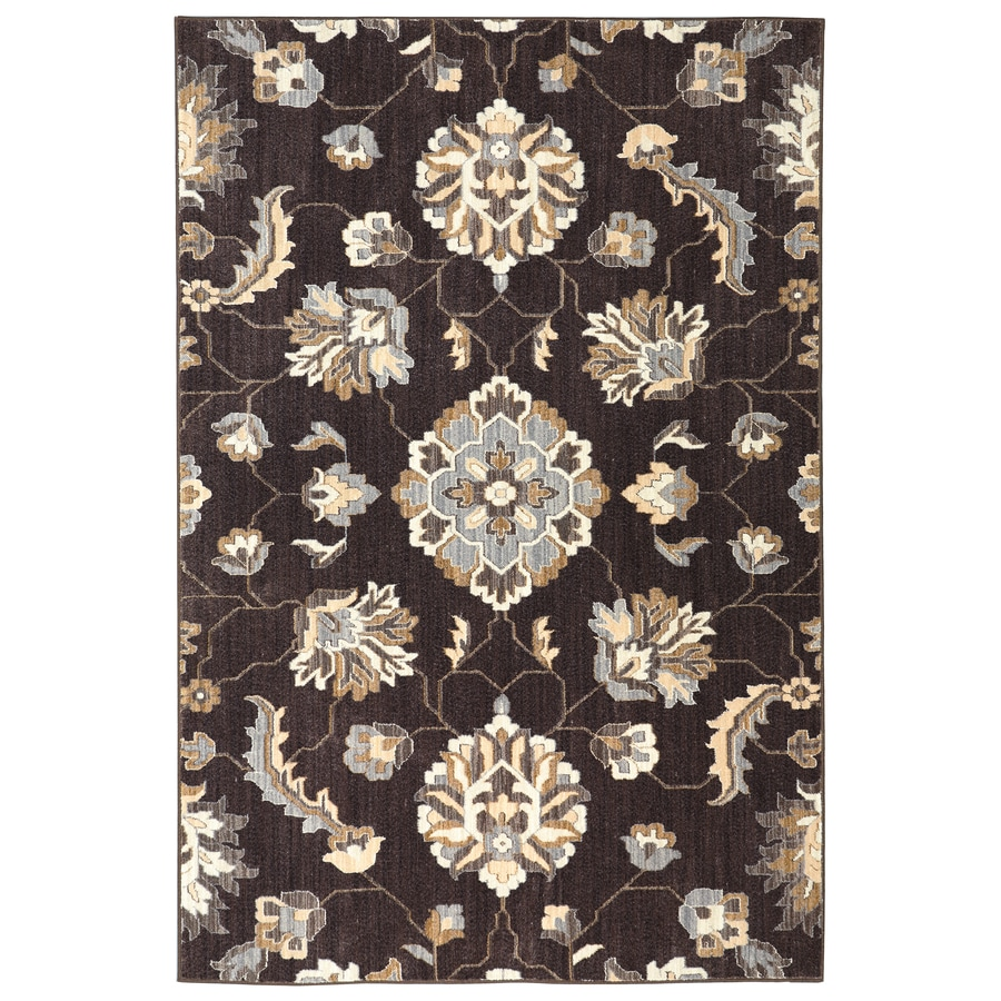 allen + roth Telgany Brown Rectangular Indoor Woven Area Rug (Common: 8 x 10; Actual: 96-in W x 120-in L)