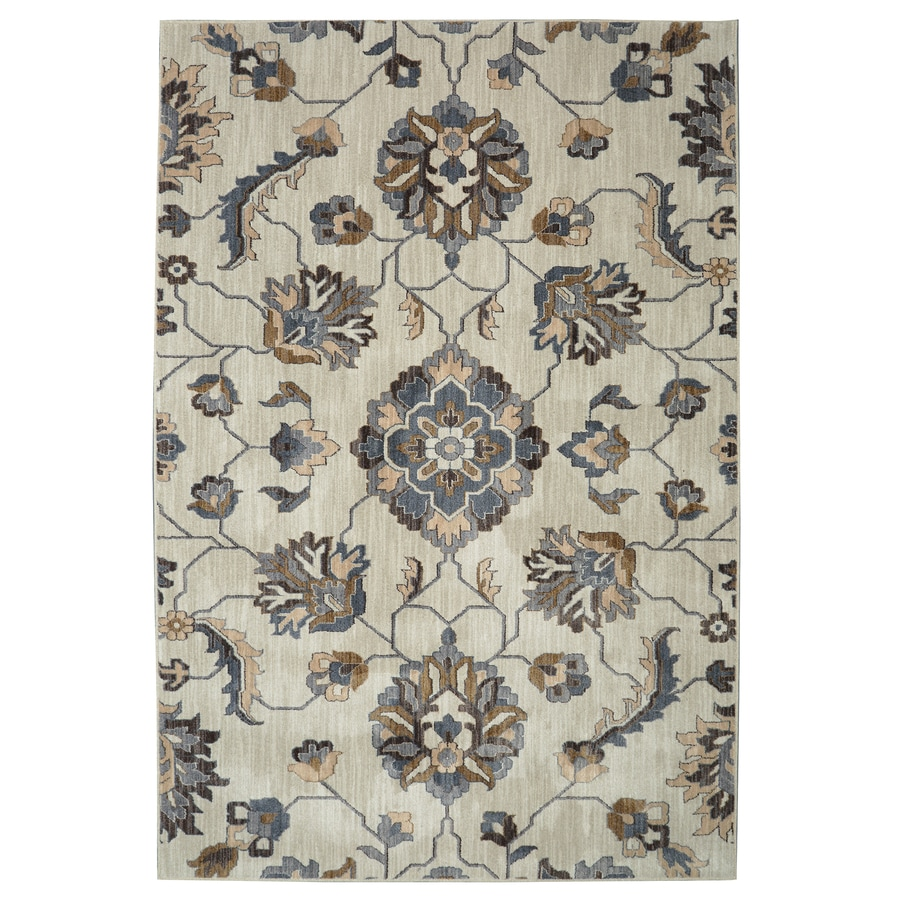 Allen + Roth Telgany Beige Rectangular Indoor Woven Area Rug (Common: 5 X 8