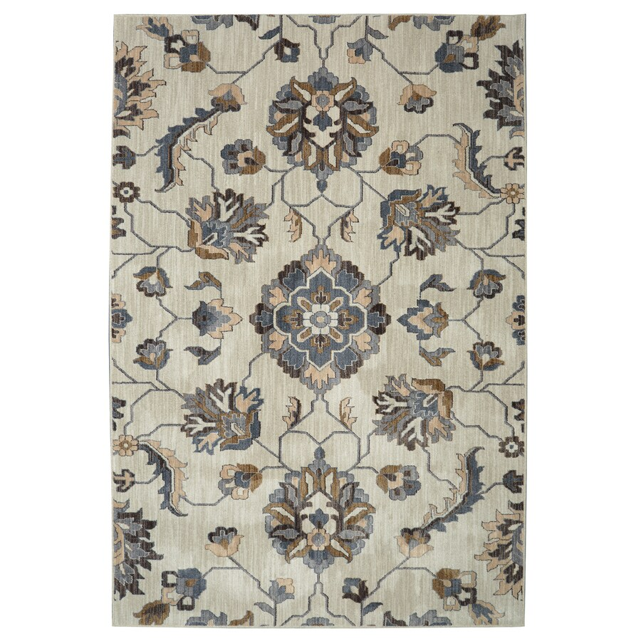 Shop Allen Roth Telgany Beige Rectangular Indoor Woven