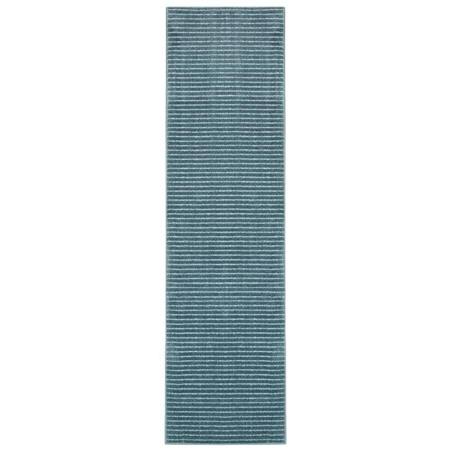 allen + roth Cattar Denim Blue Rectangular Indoor Machine-Made Inspirational Runner (Common: 2 x 8; Actual: 2-ft W x 8-ft L x 0.5-ft dia)
