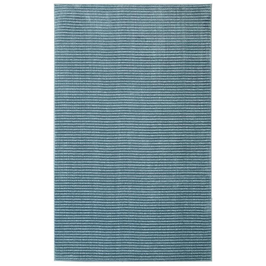 Allen + Roth Cattar Denim Blue Rectangular Indoor Machine Made  Inspirational Area Rug (Common