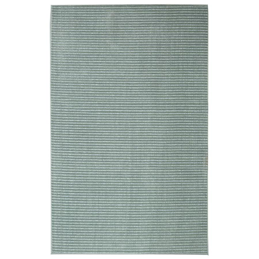 allen + roth Cattar Aqua Rectangular Indoor Machine-Made Inspirational Area Rug (Common: 10 x 14; Actual: 10-ft W x 14-ft L x 0.5-ft dia)