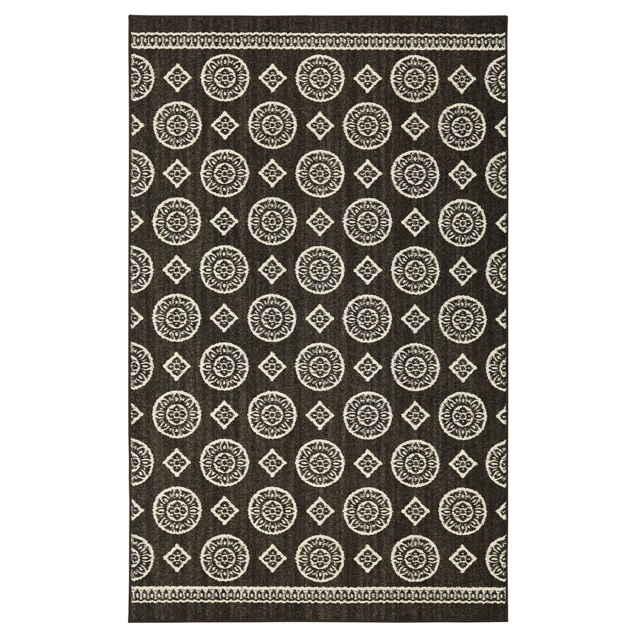 Mohawk Home ColorPoint Charcoal Rectangular Indoor Machine-Made Inspirational Area Rug (Common: 5 x 7; Actual: 5-ft W x 7-ft L x 0.5-ft dia)