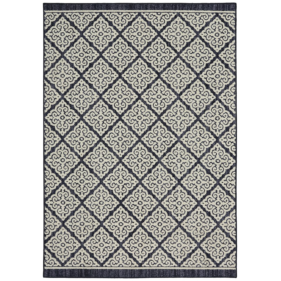 Mohawk Home Colorpoint Indigo Rectangular Indoor Machine-Made Inspirational Area Rug (Common: 7 x 10; Actual: 7.5-ft W x 10-ft L x 0.5-ft dia)