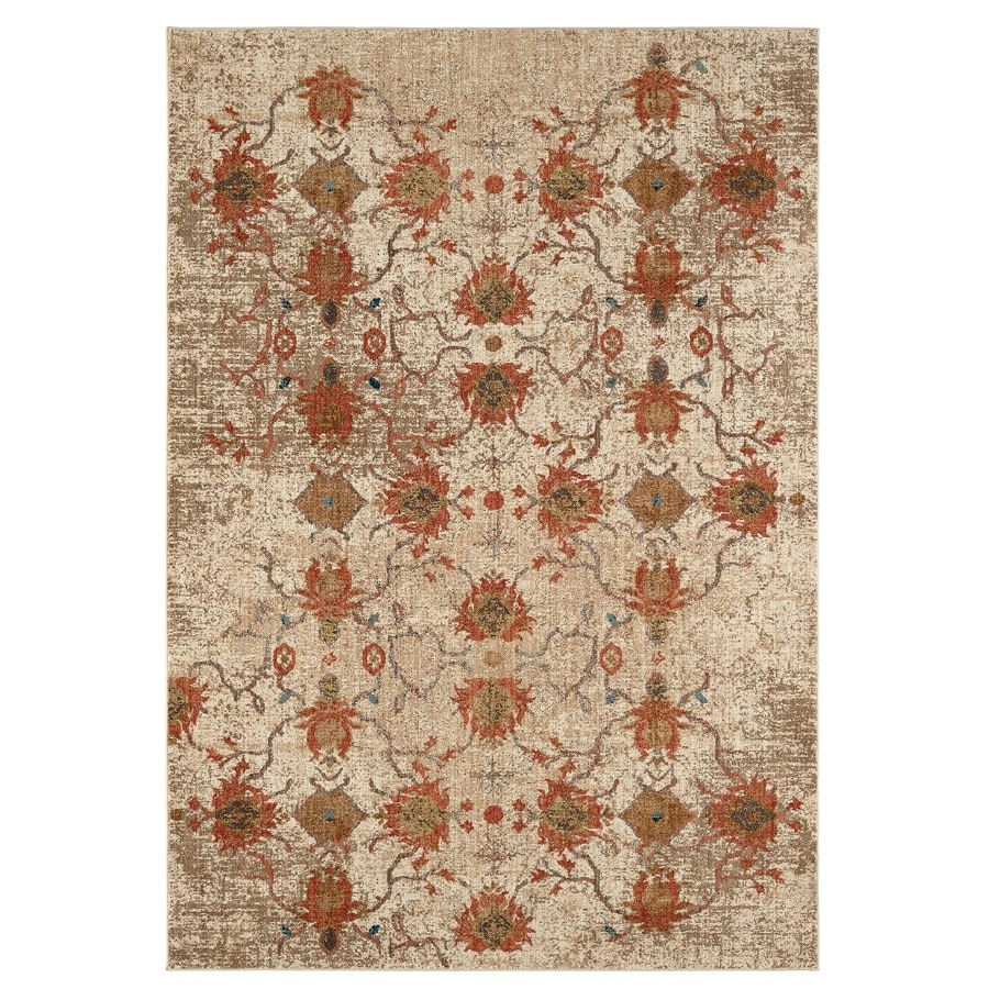 Karastan Wanderlust Cream Rectangular Indoor Machine-Made Oriental Area Rug (Common: 5 x 8; Actual: 5.25-ft W x 7.833-ft L)