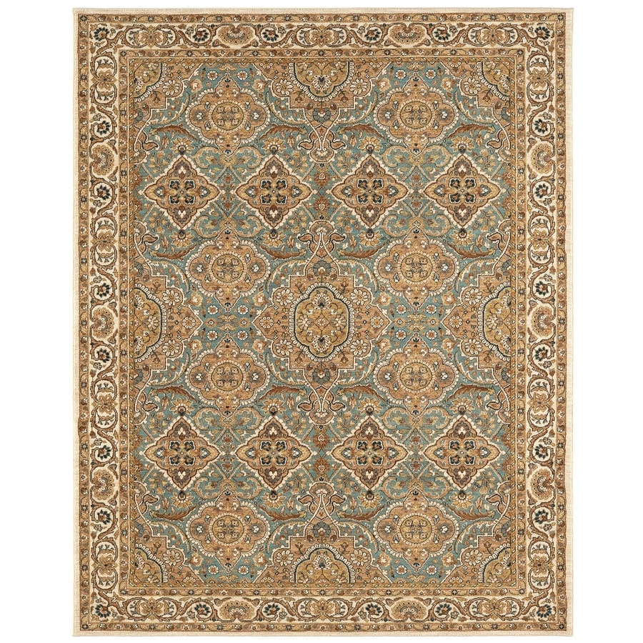 Karastan Wanderlust Aqua Rectangular Indoor Machine-Made Oriental Area Rug (Common: 9 x 13; Actual: 9.5-ft W x 12.916-ft L)