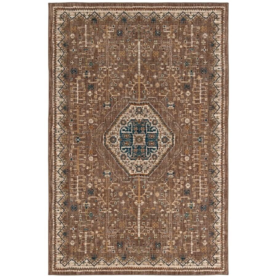 Karastan Wanderlust Taupe Rectangular Indoor Machine-Made Oriental Area Rug (Common: 5 x 8; Actual: 5.25-ft W x 7.833-ft L)