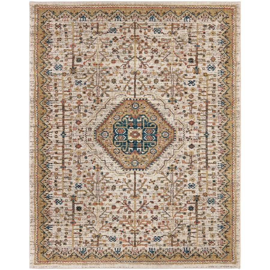 Karastan Wanderlust Cream Rectangular Indoor Machine-Made Oriental Area Rug (Common: 9 x 13; Actual: 9.5-ft W x 12.916-ft L)