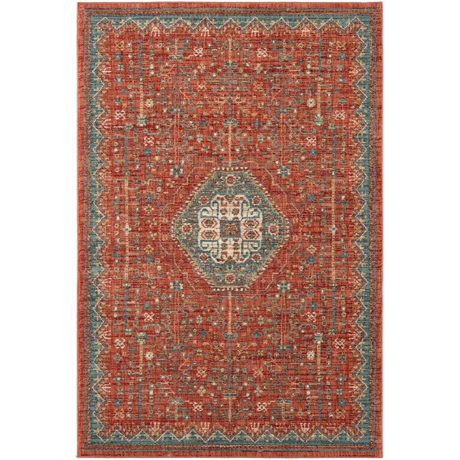 Karastan Wanderlust Spice Rectangular Indoor Machine-Made Oriental Area Rug (Common: 5 x 8; Actual: 5.25-ft W x 7.833-ft L)