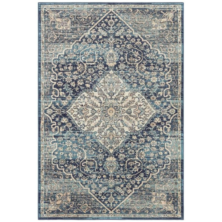 allen + roth Blue Oriental Area Rug (Common: 5 x 8; Actual: 5.25-ft W x 7.83-ft L)