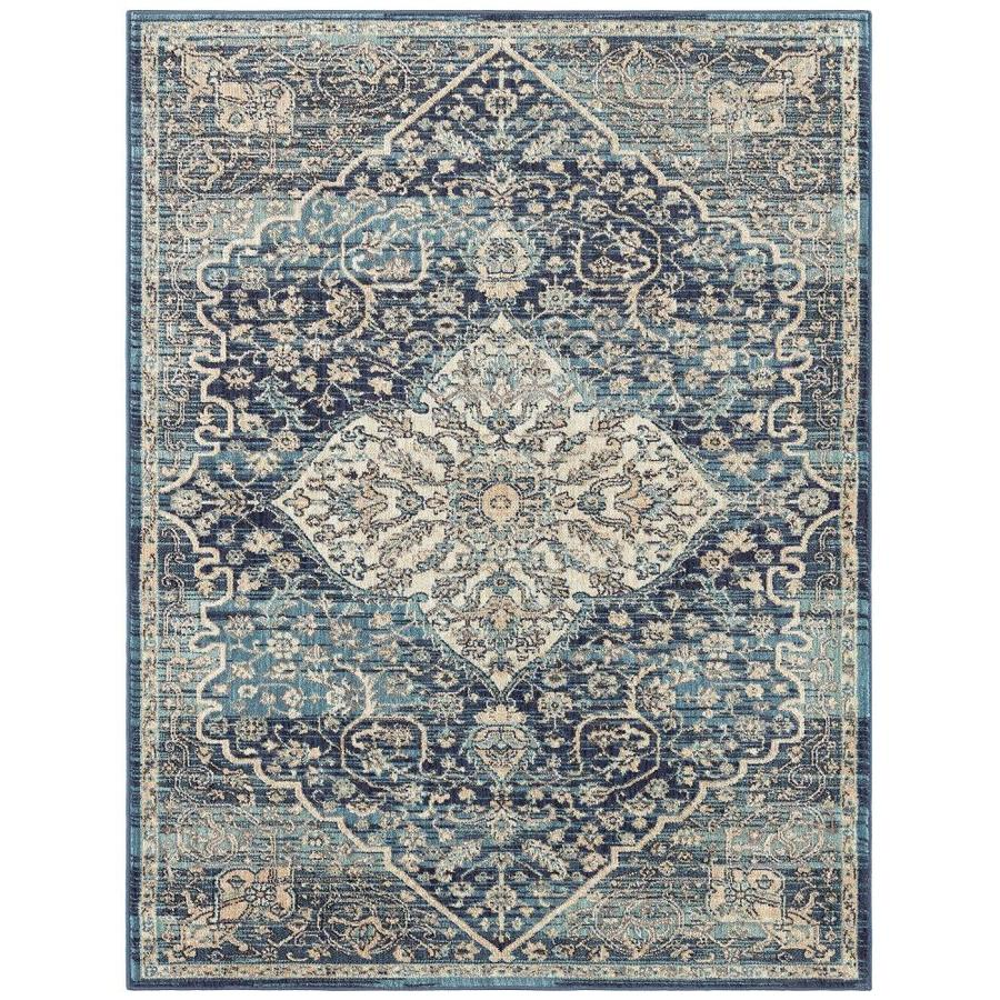 shop mohawk home madigan blue indoor oriental area rug common 8 x 10 actual 8 ft w x 10 ft l. Black Bedroom Furniture Sets. Home Design Ideas
