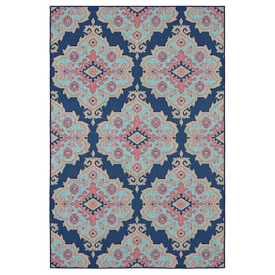 Outdoor Collection Navy Indoor Moroccan Area Rug Common 5 X 7 Actual Ft W 3 L