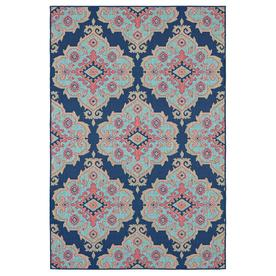 allen + roth Outdoor Collection Navy Indoor/Outdoor Moroccan Area Rug (Common: 5 x 7; Actual: 7.5-ft W x 5.3-ft L)