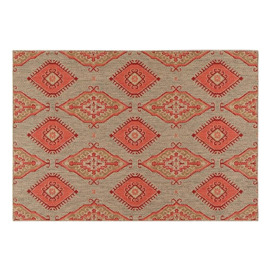 Allen Roth Outdoor Red Rectangular Machine Made Area Rug