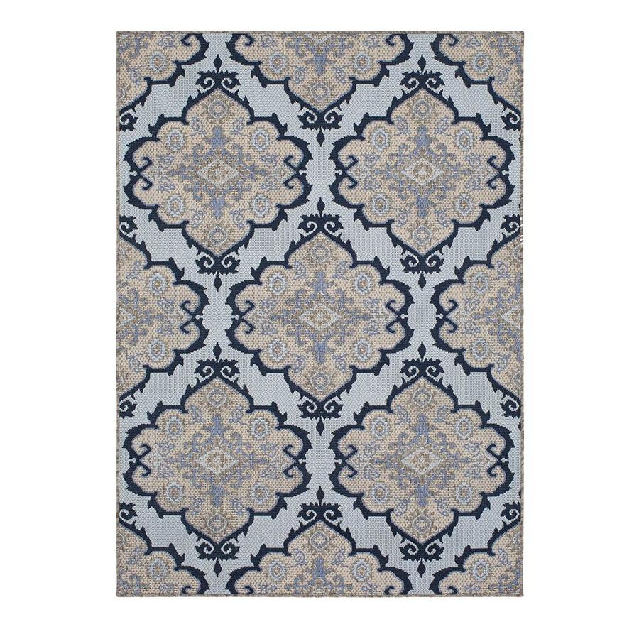 Allen Roth Outdoor Blue Rectangular Machine Made Moroccan Area Rug