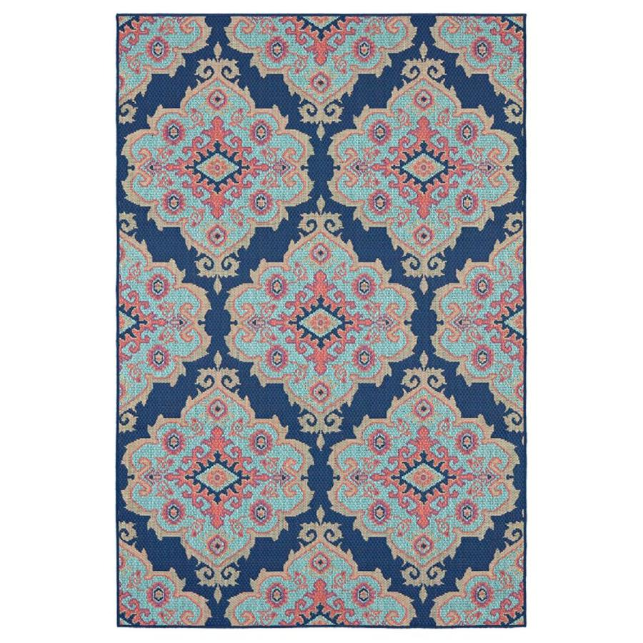 8x10 Indoor Outdoor Area Rugs: Shop Allen + Roth Outdoor Navy Indoor/Outdoor Moroccan