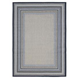 Allen + Roth Outdoor Blue Rectangular Indoor/Outdoor Machine Made Area Rug  (Common