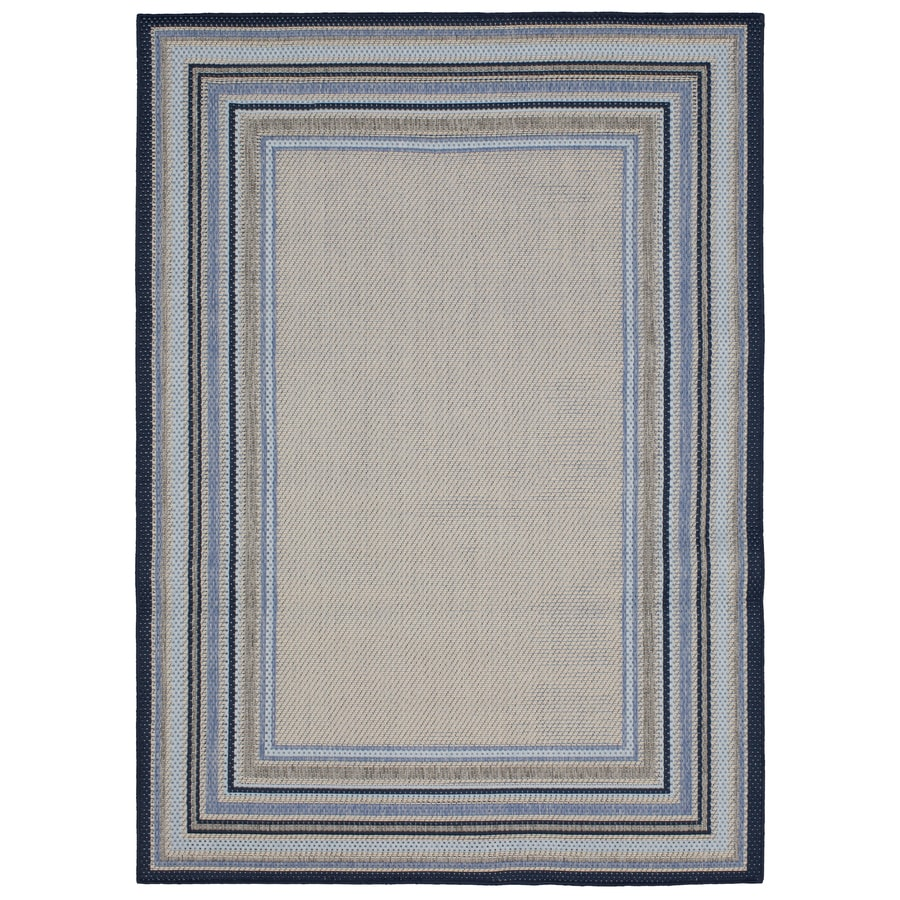 Blue Outdoor Rug 9x12: Allen + Roth Outdoor Blue Rectangular Machine-made Coastal