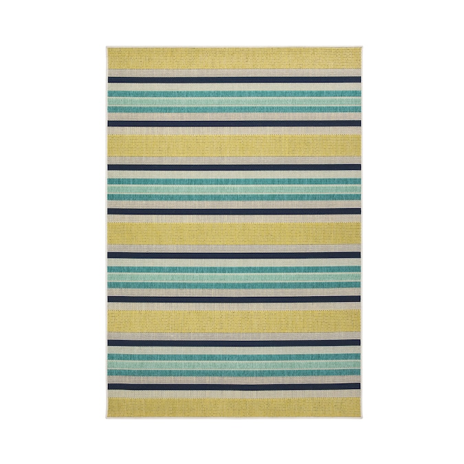 Allen Roth Outdoor Collection 5 X 8 Teal Indoor Outdoor Stripe Coastal Area Rug In The Rugs Department At Lowes Com