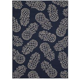 Charmant Allen + Roth Outdoor Collection Navy Rectangular Indoor/Outdoor  Machine Made Tropical Area Rug