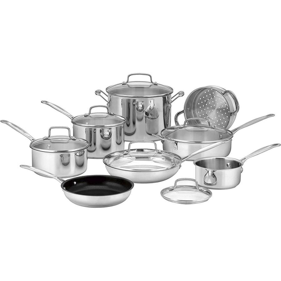 Cuisinart 14-Piece Chef's Classic Stainless Steel Cookware Set Lid(s) Included