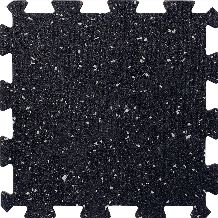 Apache Mills Inc 12 Pack In X Black With Gray Specks Loose Lay Color Flecked Rubber Tile Multipurpose Flooring