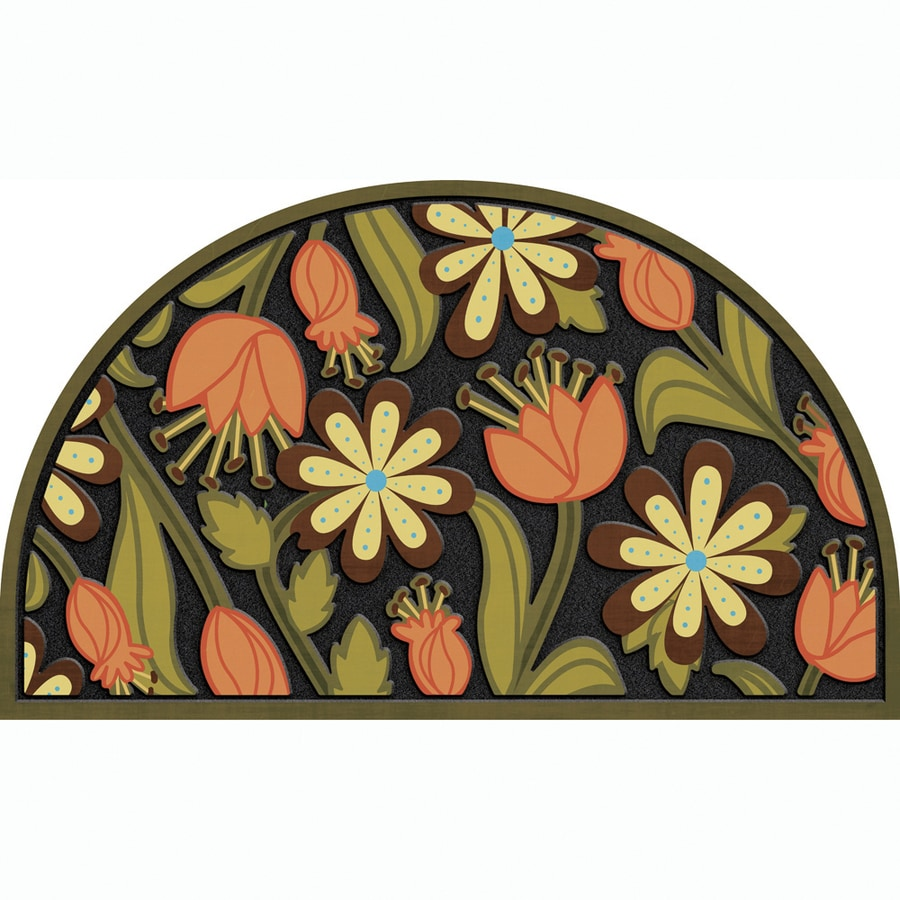 Apache Mills, Inc. Black/Multicolor Semicircle Door Mat (Common: 18-in x 30-in; Actual: 18-in x 30-in)