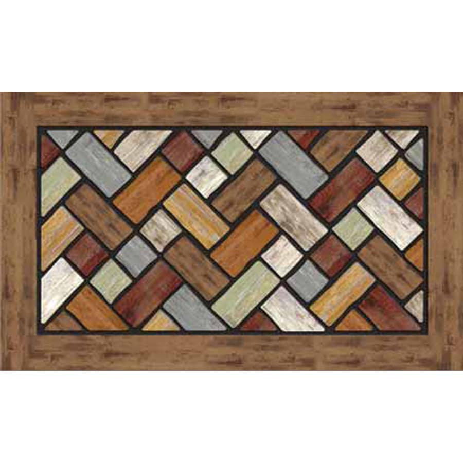 Apache Mills, Inc. Brown/Multicolor Rectangular Door Mat (Common: 18-in x 30-in; Actual: 18-in x 30-in)