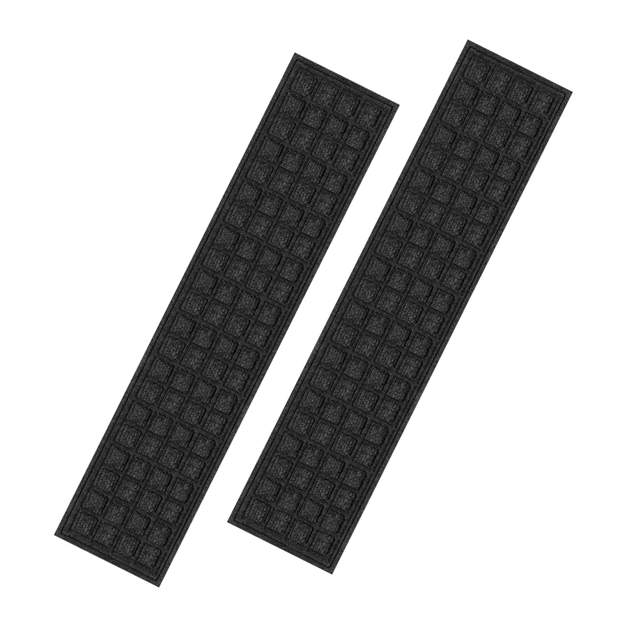Perfect Blue Hawk Black Rectangular Stair Tread Mat (Actual: 9 In X 35