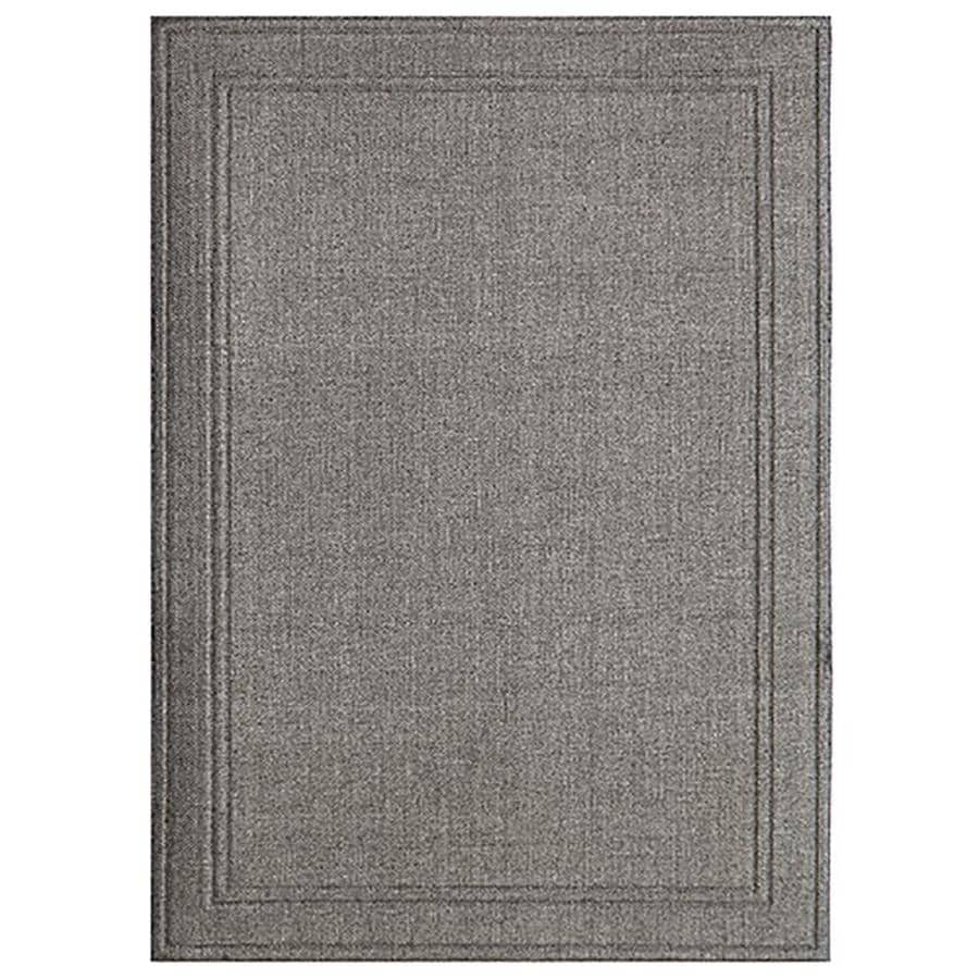 Shop apache mills inc lexington gray weave rectangular for Woven vinyl outdoor rugs