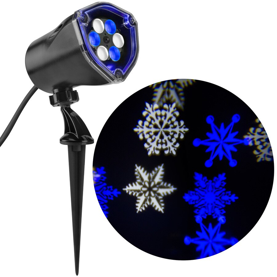 LightShow Lightshow Projection Multi-function White/Blue LED Snowflakes Christmas Outdoor Stake Light Projector