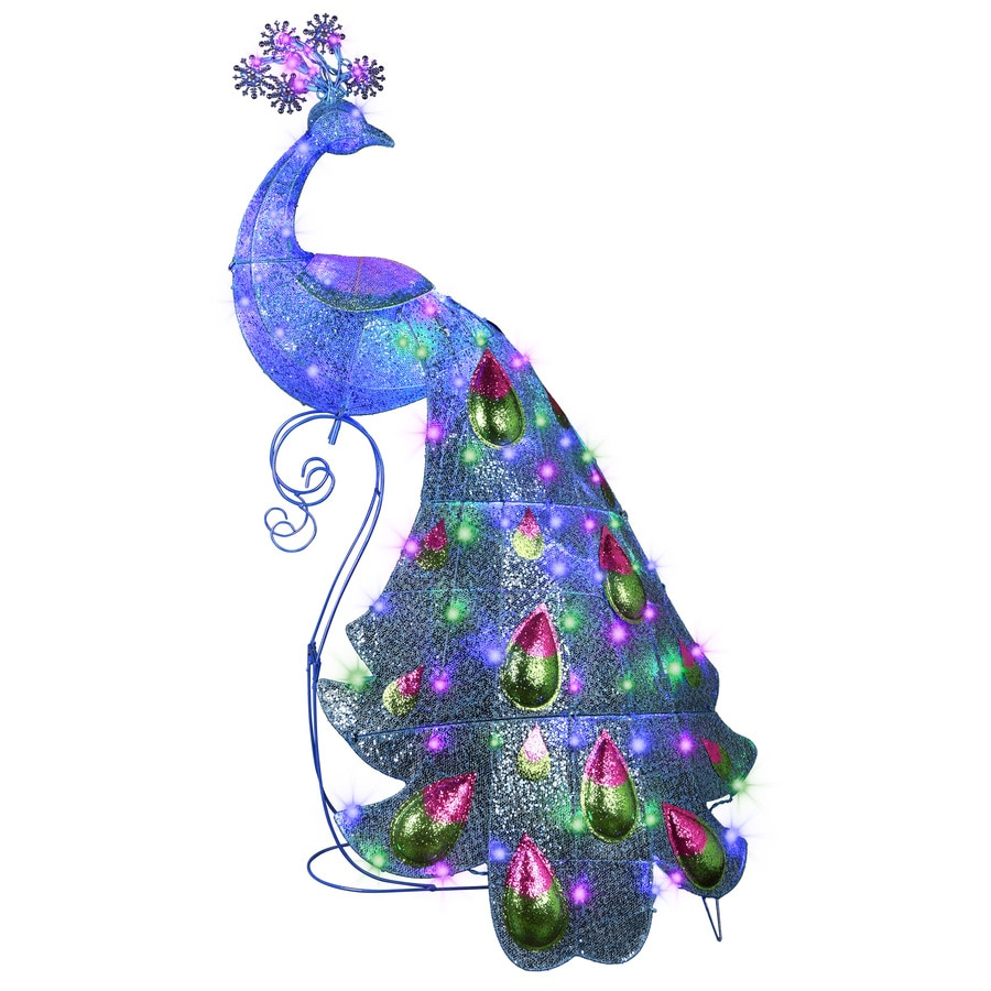 Shop holiday living pre lit peacock sculpture with multi for 57in led lighted peacock outdoor christmas decoration