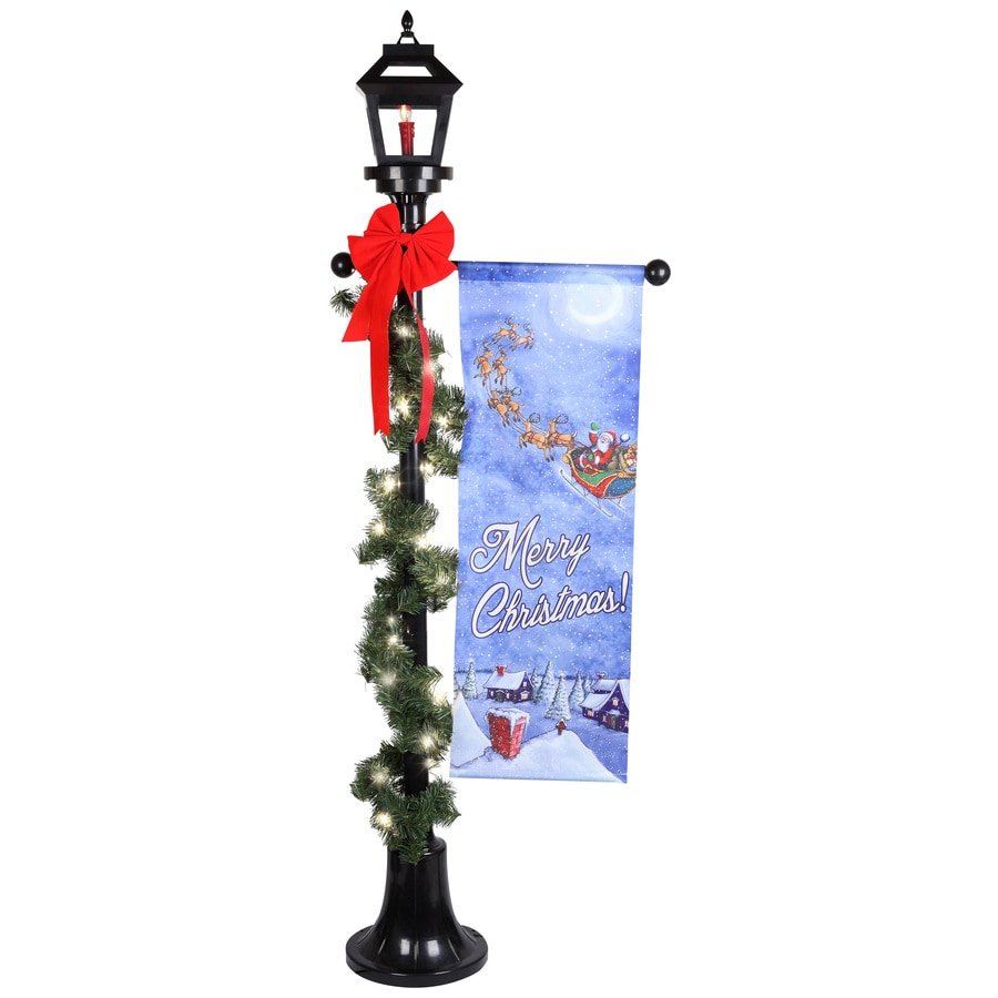 Holiday Living Pre-Lit Lamp Post Sculpture with Constant Clear White Incandescent Lights