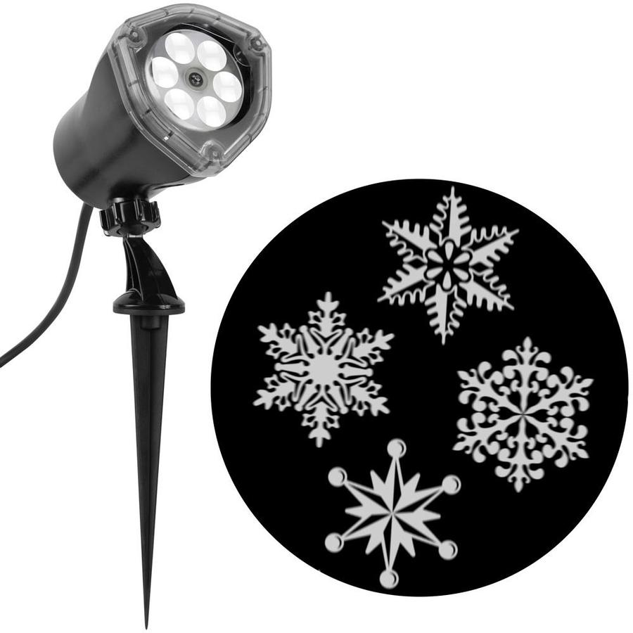 gemmy lightshow projection multi function white led snowflakes christmas indooroutdoor stake light projector