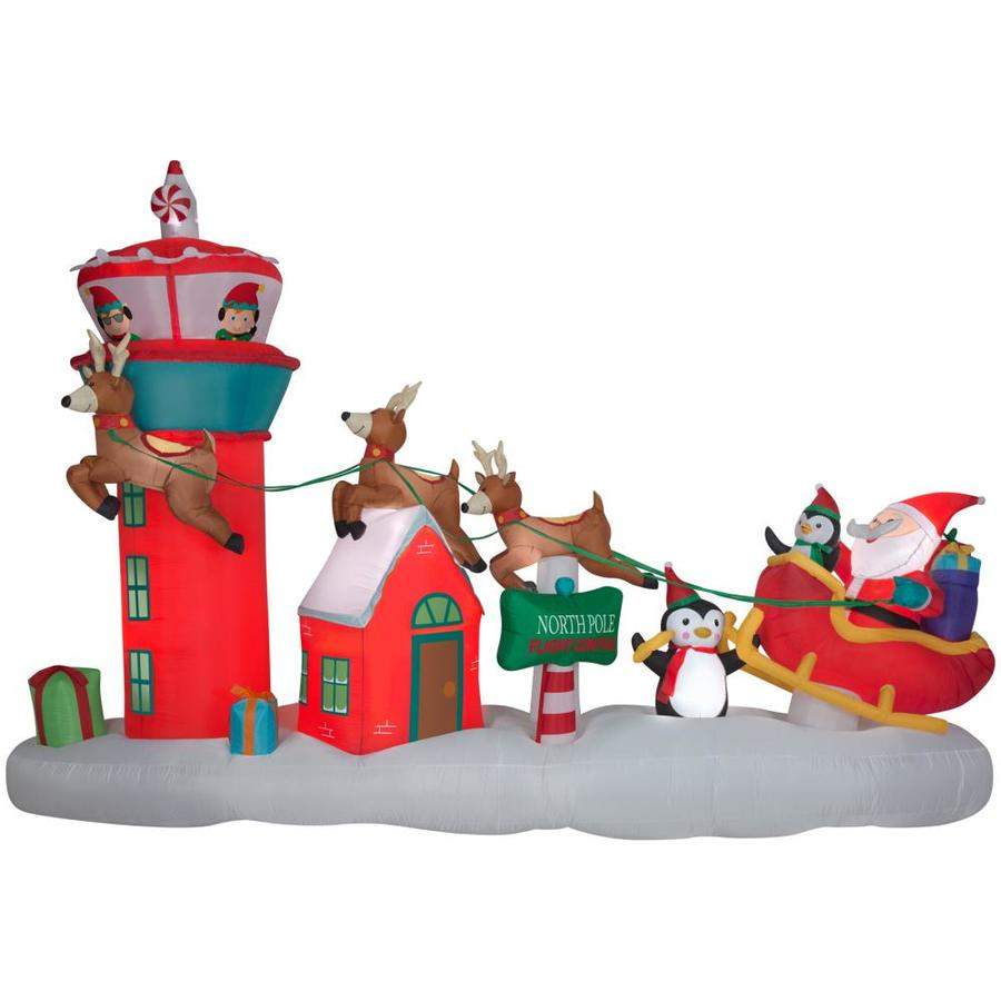 Shop Holiday Living 8.66-ft x 13.48-ft Lighted Santa Christmas ...