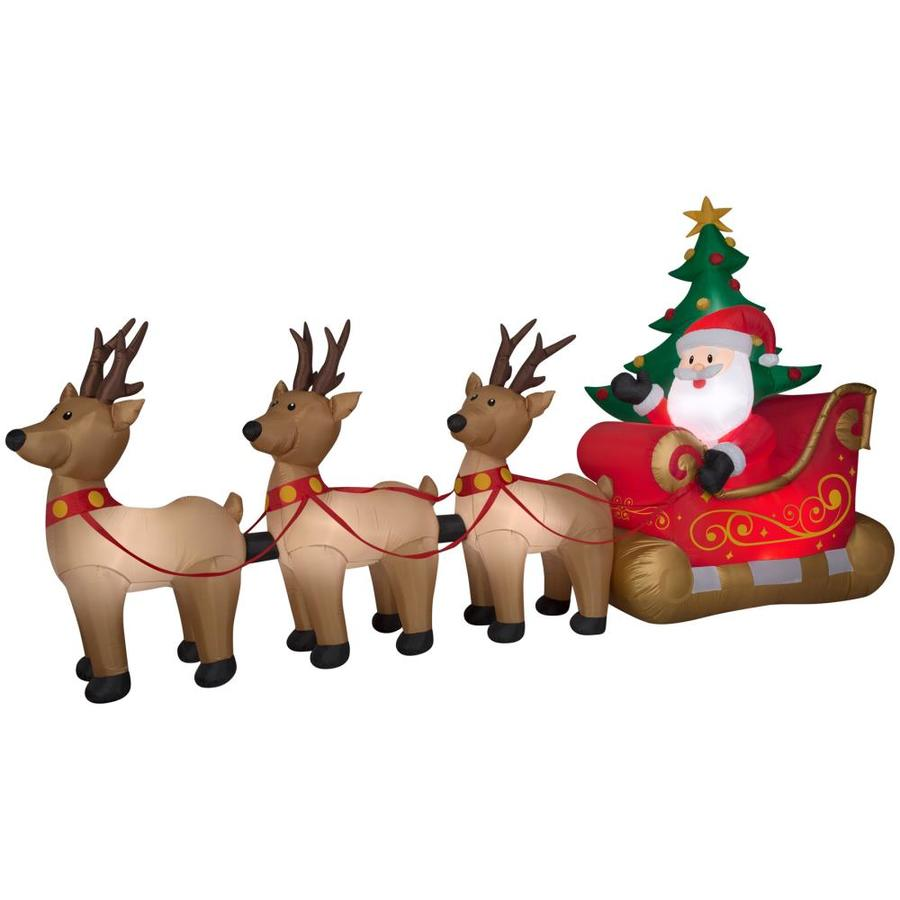 holiday living 82 ft x 1549 ft lighted santa christmas inflatable - Lighted Animals Christmas Decoration