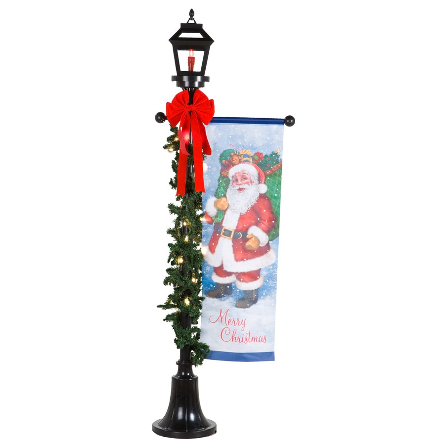 Shop Holiday Living Pre-Lit Lamp Post with Twinkling Orange ...