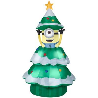 Minion Christmas.6 98 Ft X 3 77 Ft Animatronic Lighted Minion Christmas Inflatable