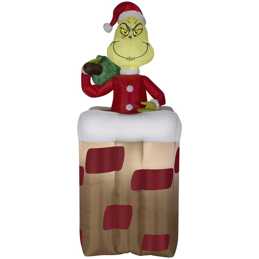 gemmy 551 ft x 243 ft animatronic lighted grinch christmas inflatable - Blow Up Christmas Decorations Grinch