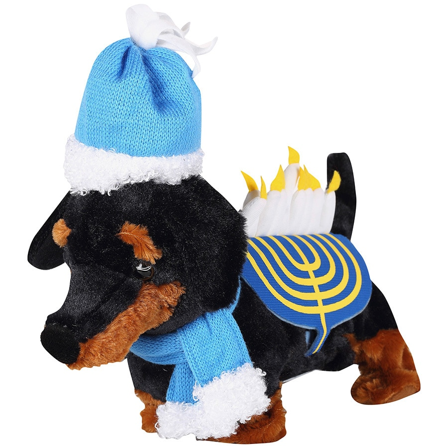 Gemmy Animatronic Musical Fabric Freestanding Happy Hanukkah Dogs