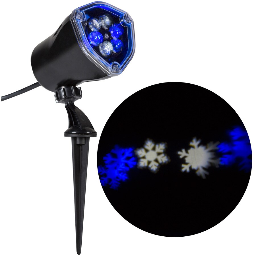Gemmy Snowflurry Lightshow Swirling White and Blue LED Snowflakes Christmas Spotlight Projector