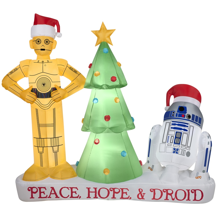 gemmy 558 ft x 246 ft lighted star wars droids christmas inflatable - Star Wars Blow Up Christmas Decorations