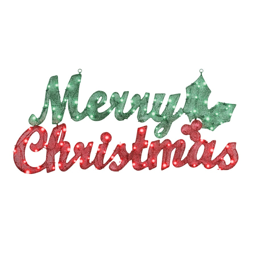 Merry Christmas Decorations Outdoor : Gemmy pre lit merry christmas sign with constant