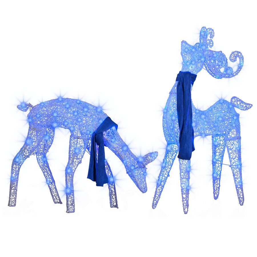 LightShow 1-ft Freestanding Buck And Doe Sculpture with Constant Blue LED Lights